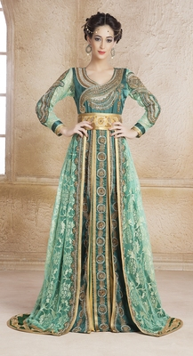 Bottle green satin and silk and creap stones and sequins and lace and resham islamic kaftans