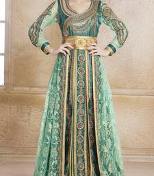Buy Bottle green satin and silk and creap stones and sequins and lace and resham islamic kaftans islamic-kaftan online