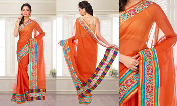 Orange cutwork cotton casual with blouse