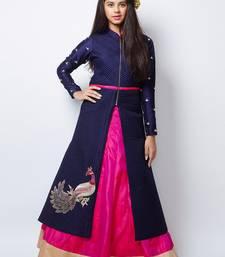 Buy Blue N Pink heavy Foam Work Embroidery Banglori Silk Ready Made Indo Western Lehenga For Girls kids-lehenga-choli online
