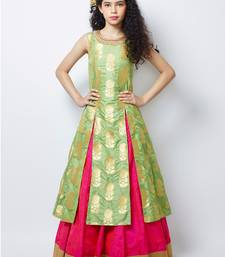 Buy Pista  N Pink heavy Jequard Silk ReadyMAde partywear lehenga choli For Girls kids-lehenga-choli online