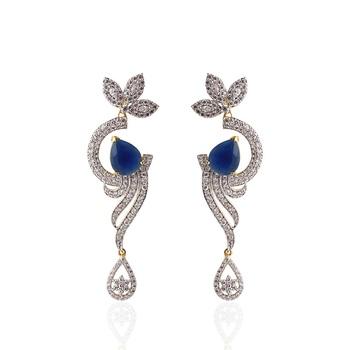 Heena Contemporary  drop shape blue stone  Earings > HJER12BL