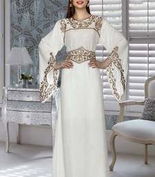 Buy off white embroidered Faux Georgette islamic kaftans islamic-kaftan online
