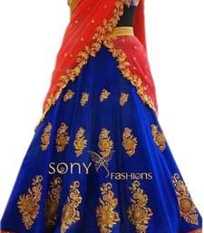 Buy Blue embroidered georgette unstitched lehenga lehenga-choli online