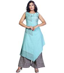 Buy Blue plain jute cotton salwar readymade-suit online