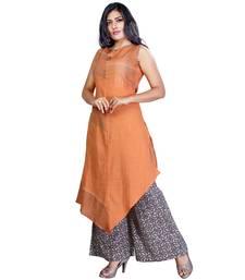 Buy Orange plain jute cotton salwar readymade-suit online