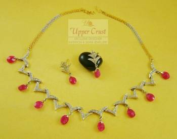 Sleek CZ Ruby Necklace Earring Jewellery
