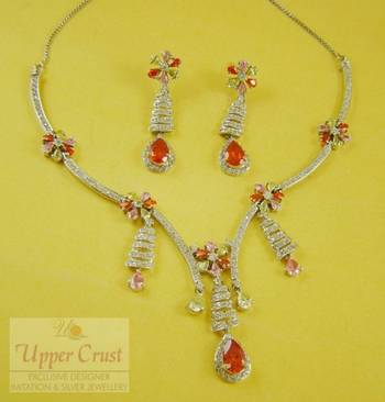 CZ Multicolored Bridal Collar Necklace Earring Jewellery