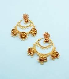 Buy Golden beige traditional jhumki earrings jewellery for women Earring online