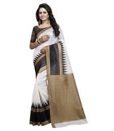 Buy White printed bhagalpuri saree with blouse cotton-saree online