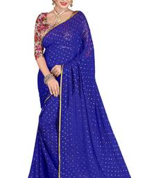 Buy Blue plain nazneen saree with blouse light-weight-saree online