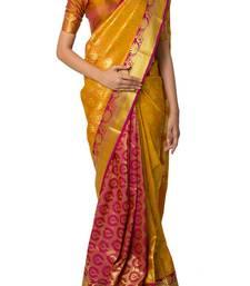 Buy Yellow woven kanchipuram silk saree with blouse kanchipuram-silk-saree online