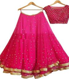 Buy Pink embroidered georgette unstitched lehenga with dupatta lehenga-choli online