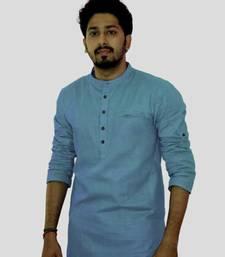 Buy Lite blue cotton solids mens wear kurta men-kurta online