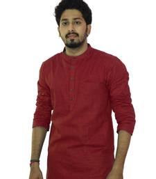 Buy Maroon cotton solids mens wear kurta men-kurta online