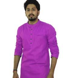 Buy Purple cotton solids mens wear kurta men-kurta online