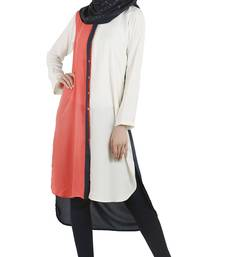 Buy White poly moss stitched tunics tunic online