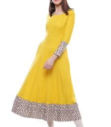 Buy Yellow plain viscose stitched rayon ethnic-kurtis ethnic-kurtis online