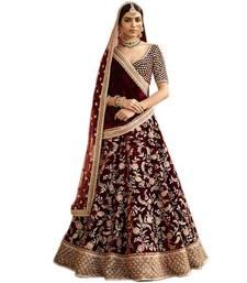 Buy Maroon embroidered velvet unstitched lehenga with dupatta bridal-lehenga online