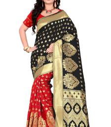 Buy Black woven silk saree with blouse hand-woven-saree online