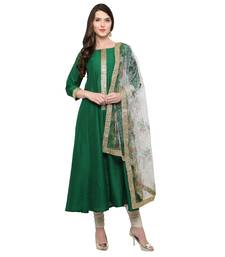 Buy Cream Base Floral Dupatta with Golden Border stole-and-dupatta online