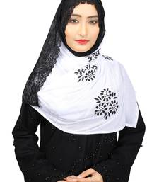 Buy White Colour Khati work Lace Work &  Diamond Stone work Indian Hoisery Cotton Hijab (Headscraf) hijab online