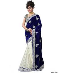 Buy Blue embroidered velvet saree with blouse half-saree online