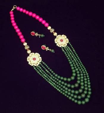 Kundan Colored Stone Necklace Set