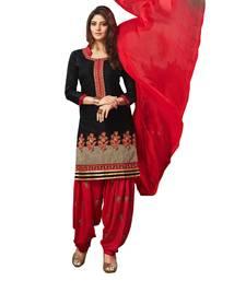 Buy Black embroidered cotton silk salwar with dupatta cotton-silk-suit online