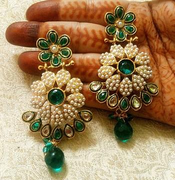 Designer Beautiful Rama Green Copper Alloy Earrings