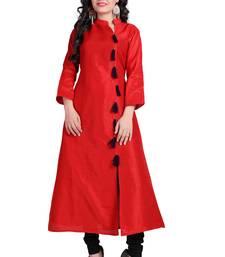 Buy Red plain stitched silk-kurtis silk-kurtis online