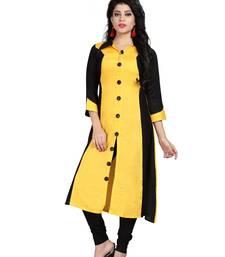 Buy Yellow plain rayon stitched long-kurtis long-kurtis online
