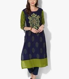 Buy Women's Blue Cotton Embroidery Long Straight kurti long-kurtis online