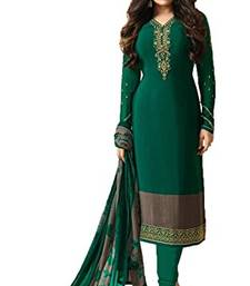 Buy Green embroidered crepe salwar with dupatta party-wear-salwar-kameez online
