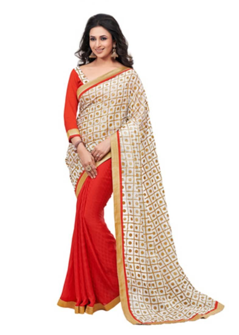 Buy Kora Silk With Gold Foil Print Red Designer Sarees Online