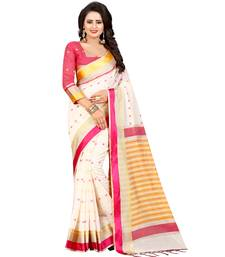 Buy White printed cotton saree with blouse cotton-saree online