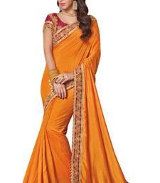 Buy Yellow embroidered silk saree with blouse banarasi-silk-saree online