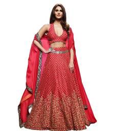 Buy Red embroidered silk unstitched lehenga bollywood-lehenga online
