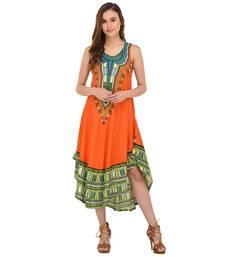 Buy Orange printed rayon party-wear-kurtis party-wear-kurtis online