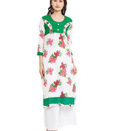 Buy White printed cotton stitched kurti kurtas-and-kurti online
