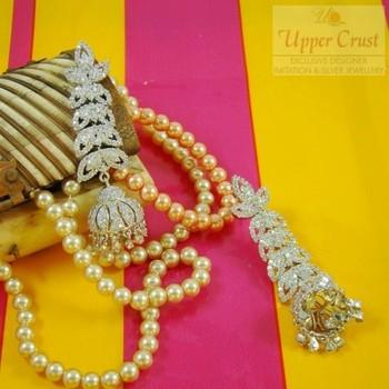 Rhodium Plated Zircon Jhumka Jhumki Earrings