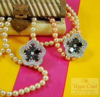 CZ Black Onyx Flower Studs Earrings