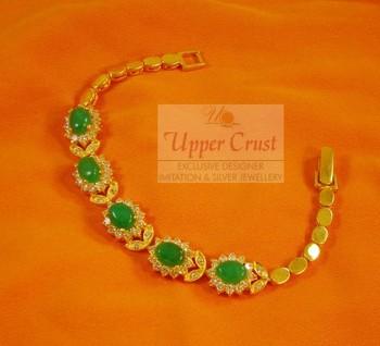 Green Jade AD Zircon Chain Bracelet