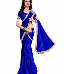 Buy Light blue plain crepe saree with blouse leheriya-saree online