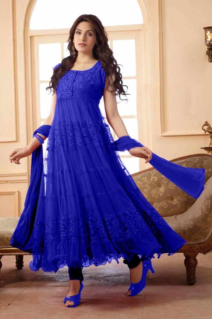 Buy Designer Blue Frock Style Anarkali Suit Online