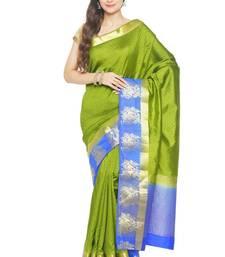 Buy Green printed tussar silk saree with blouse tussar-silk-saree online