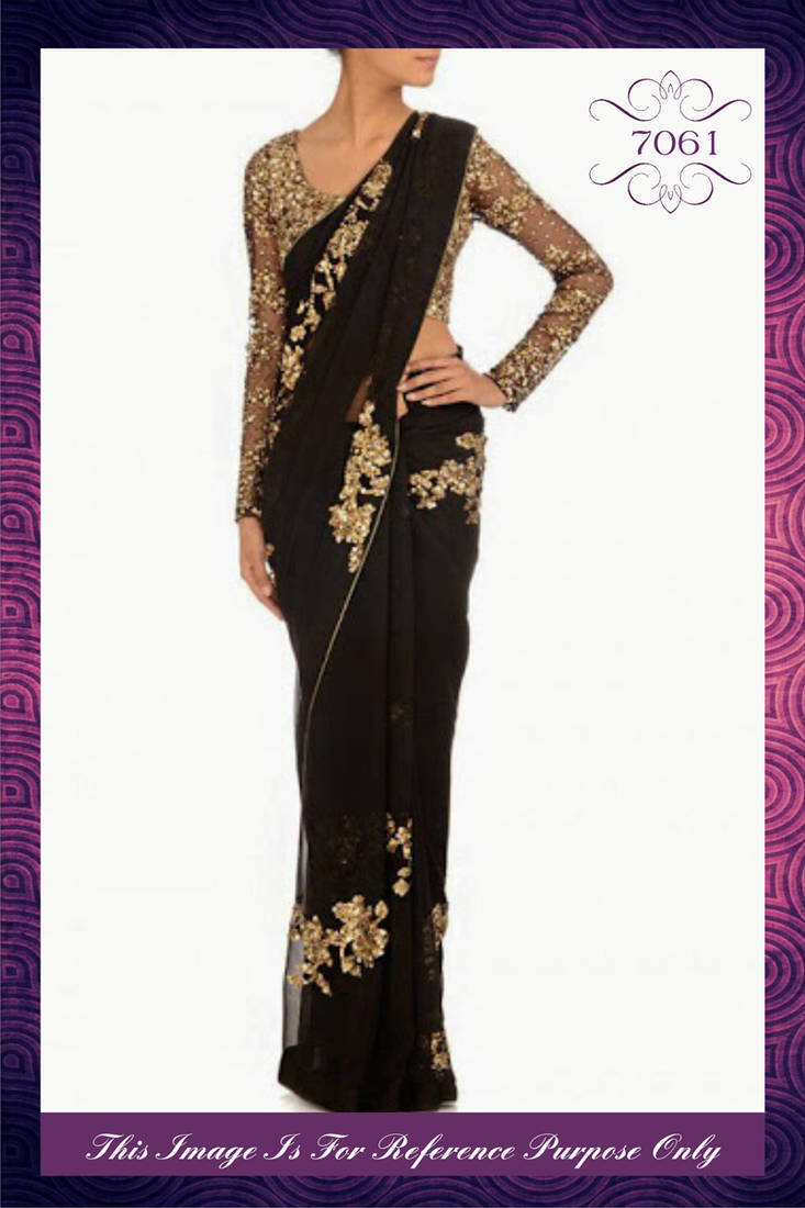 Buy Stylish Designer Black Amp Gold Saree With Heavy Sequins
