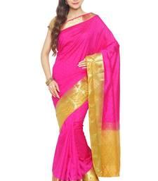 Buy Pink printed tussar silk saree with blouse tussar-silk-saree online