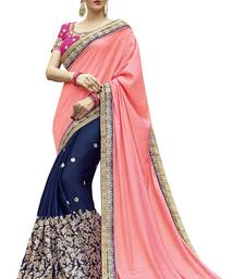 Buy Peach embroidered satin saree with blouse satin-saree online