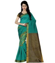 Buy Green printed faux tussar silk saree with blouse tussar-silk-saree online